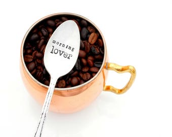 Good Morning Lover Hand Stamped Spoon. Gift for Girlfriend, Boyfriend, Wife, Husband. The Original Hand Stamped Vintage Coffee Spoons™