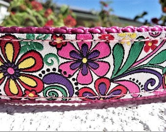 """Sale Dog Collar 1"""" wide Martingale collar or Quick Release buckle Carnival Floral"""
