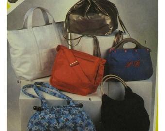 "Fashion Bags Pattern, Six Styles, Messenger, Tote, Drawstring, Pouch, Simplicity No. 5476 UNCUT Size 10-16"" 24-40cm"