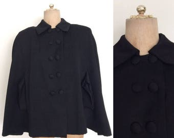 20% OFF 1940's Exaggerated Shoulders Black Wool Cape w/ Double Breasted Buttons