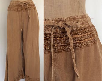 1990's Beige Wide Leg Pants Rayon Culottes Size Small Medium by Maeberry Vintage