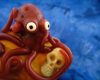 Octopus with Skull Sculpture