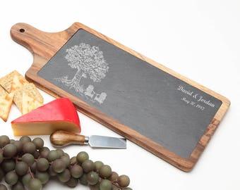 Wood Cheese Board, Personalized Slate Board, Acacia Wood Slate Cheese Board, Slate serving board, Personalized Wedding, Housewarming D31
