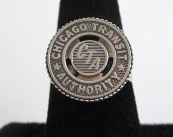 Chicago CTA Ring - Vintage Transit Token, Repurposed Coin, Adjustable Size