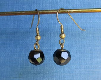 Black Glass Earrings / Solid Brass Ear Wires - Pierced & Dangling