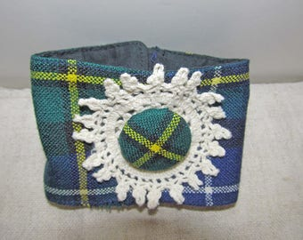 Clan MacNeil Modern wool tartan wrist cuff with vintage mother of pearl buttons vintage doily