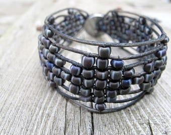 Bohemian Woven Wristband,  Black Leather Bracelet, Czech Sead Bead Wristlet, Boho Chic Bijoux, Gypsy Biker Style, Mauve Grey Blend