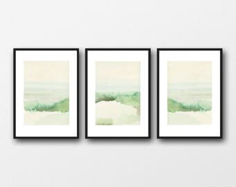 Etsy sale | Green Watercolor landscape paintings | landscape set of 3 prints | Landscape art prints