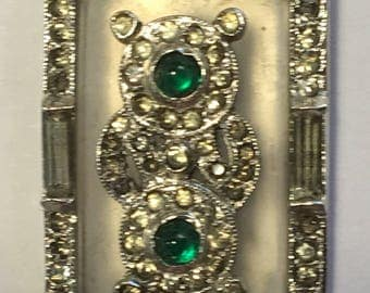 Vintage Camphor Glass Dress Clip Rhinestones Green Glass Cabochons