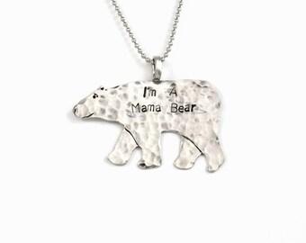 Mama Bear Jewelry Gift For Mom, Bear Necklace Sterling Silver, Sterling Word Jewelry, Mama Bear Pendant, Robin Wade Jewelry, Pendant, 2460
