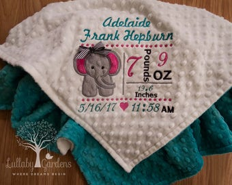 Elephant Appliqued  Personalized Birth Record Minky Baby Blanket, Subway Personalized Minky Baby Blanket, Personalized Baby Gift