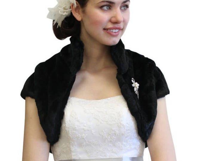 Pre Christmas Sale bridal shrug, Black faux fur bolero jacket, faux fur bolero, wedding shrug, faux fur stole