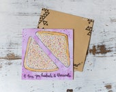 I love you Greeting Card, Fairy Bread Card, Cute Greeting Card, Romantic Card, Fairy Bread, Watercolour Card, Illustrated Card, Aussie Card