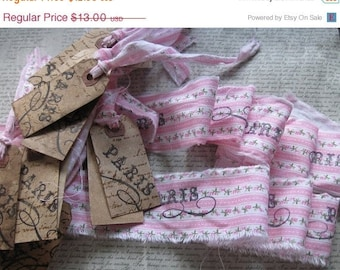 French Inspired Hand Stamped Fabric Trim - 2 trims - 12 tags - coordinating Setcottage chic