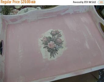 Romantic Aged Nordic French Inspired Cottage Chic Decorative Tray Pink White