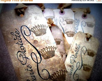 French Inspired Hang Tags - Crowns Carte Postale - set of 6 - Black Sepia