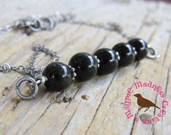 Black Rainbow Obsidian Bar Necklace, 3 Bead Black Bar Necklace, Antique Silver Obsidian Necklace, Minimal, MagpieMadnessJewelry