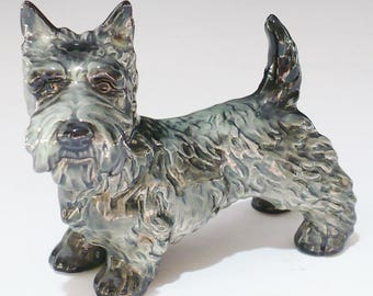 Figurine, Goebel, Scottie Dog, Grey Dog,  with Black Accents, Marked on Bottom, Ceramic, Collectible,