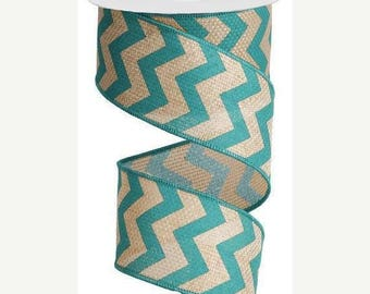 ON SALE 2.5 Inch Turquoise Natural Chevron RG3025Jh, 5 or 10 Yards