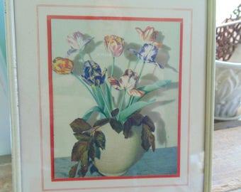 vintage. ART PRINT  framed print. Flower Print. TULIPS. 1930s. 1940s. metal frame. botanical print. floral print. art deco print