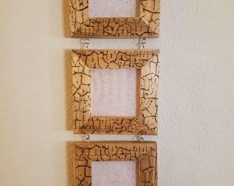 Hanging wood picture frames, 3 frames.