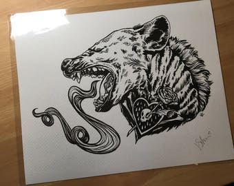 Hyena - 8 x 10 Print of original watercolor tattoo style heart