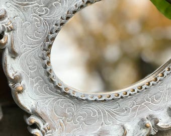 Small Mirror, Ornate Mirror, Accent Mirror, Shabby Chic mirror.Size 8 inches tall.