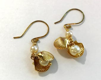 Hook Earrings White Pearls Dapped Double Gold Shells with White Pearls Inside Handmade Gold Plated or Factory 14K Gold Filled Ear Wires