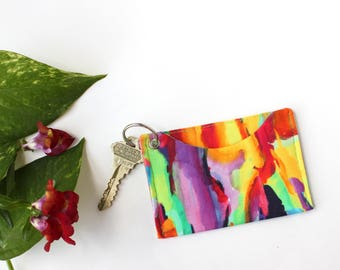 Tie Dye Card Sleeve - Card Holder Keychain - Student ID Holder Wallet - Back to School Gift - Colorful Keychain - Slim Credit Card Holder