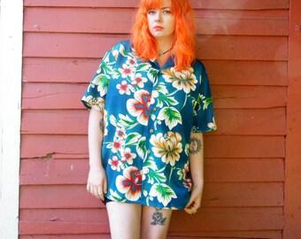 80s/90s Kennington Turquoise Hawaiian Tropical Shirt Hippie Boho Novelty Summer Short Sleeve Button Up L