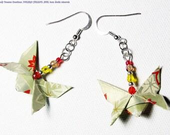 Butterfly earrings green maple, ORIGAMI