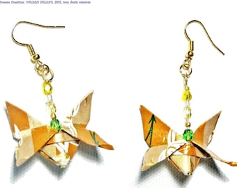 Butterfly earrings brown gilt, Japanese, origami