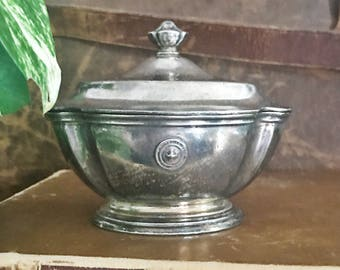 Antique Silver Plated Sugar Bowl from University Club of Los Angeles