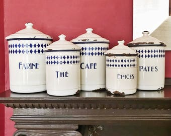 Set of 5 Antique French Enamel Canisters