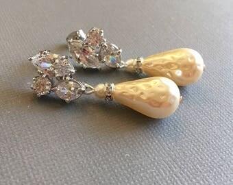 Long Pearl Earrings pear shape teardrop pearl dangle in cream ivory and CZ Rhinestone sterling silver post