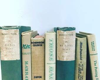 Vintage Green & Beige Books Instant Library Collection Decorative Books Photography Props French Country Farmhouse