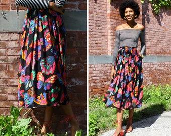 Vintage Pleated Skirt L • Butterfly Print Skirt • Flowy Skirt with Pockets • 90s Skirt • Vintage Midi Skirt • Summer Skirt | SK871