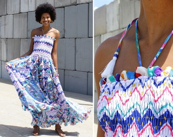 Diane Freis Dress • Vintage Maxi Dress • Tube Top Dress • Summer Maxi Dress • Ruffle Dress • Halter Dress • 80s Dress | D1026