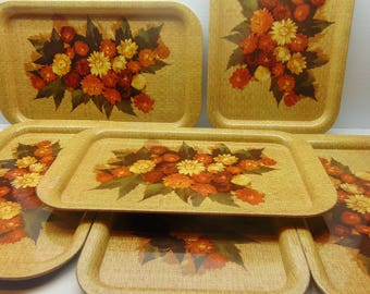 Vintage Metal TV Trays, Snack Lap Serving Trays, Set of 6
