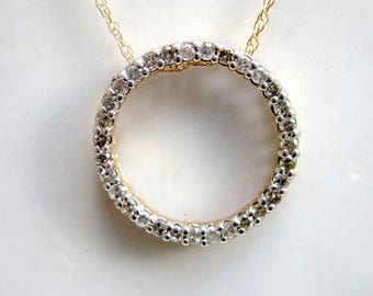 Estate Classic 10k Solid Yellow Gold and Diamond Circle Pendant and 20 inch 14k Yellow Gold Chain / Estate Necklace / Diamond Necklace /