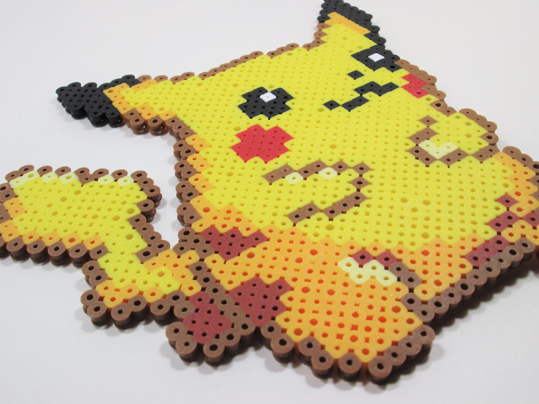 Pikachu Perler Bead Art // Pokemon// Perler Wall Art // Nerdy ...