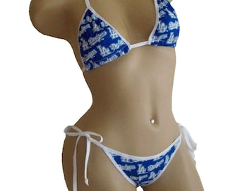 Los Angeles LA Dodgers Bikini - By Sexy Crushes - Please Read Desc and View Photos - NEW FABRIC - B Cup Top, 'Less' Bottom - Ready to Ship