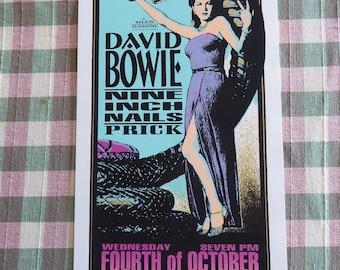 "DAVID BOWIE Original Concert  Handbill Nine Inch Nails 4"" x 8"" Armanski"