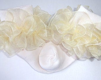 Ivory/Cream 2.5 inch Sheer Organza Ruffled Ribbon Socks