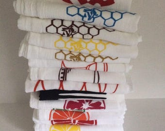 Set of six kitchen towels screen printed flour cloth any combination or color