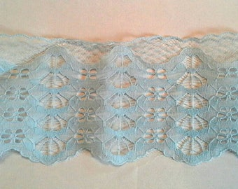 Flat Blue Scallopped Lace Sewing Trim 7 Yards by 4 Inches Wide L0621