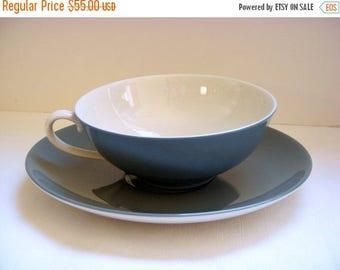 ANNIVERSARY SALE 1950s Franciscan Encanto Spruce Tea Cups w saucers - Set of Five