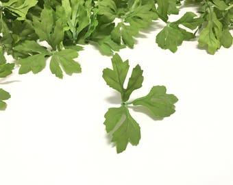 50 Artificial Green RANUNCULUS Leaves - Artificial Flowers, Silk Flowers, Greenery, Hair Accessories, DIY Wedding, Flower Crown, Millinery
