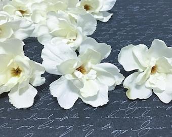 10 Artificial Cream Delphinium Blossoms - SMALLER SIZE- Artificial Flowers, Silk Flowers, Flower Crown, Millinery, Corsage, Hair Accessories