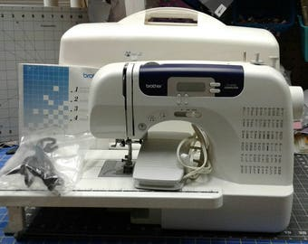 BROTHER PS 6000 Electronic Sewing Machine-Foot Pedal-Extension Table-Free Arm-CD-Instruction  Manual